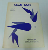 Come Back Paul Vance Eddie Snyder Sheet Music 1963 5 pages