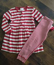 girls HANNA ANDERSSON red white striped DRESS and LEGGINGS 110/5 Christmas