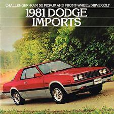 1981 Dodge CHALLENGER / COLT / RAM 50 PickUp Truck Brochure w/ Color Chart/Specs