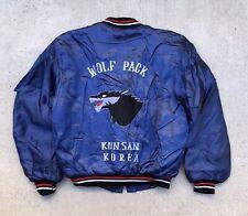 Vintage Korea Wolf Pack Souvenir Satin Jacket military tour bomber