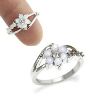 Women Fashion Flower White Fire Opal 925 Silver Gemstone Jewelry Ring Size 5-11