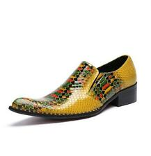 Mens Pointy Toe Wedding Slip On Nightclub Dress Formal Business Leather Shoes