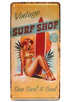 Vintage Surf Shop Sun Surfer Surfboard Plate Plaque Metal Tin Sign