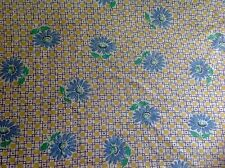 Vintage Bright Blue Yellow Green Daisy Flowers Design Feed Sack Fabric