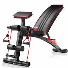 Klappbare Fitness Hantelbank Verstellbare Trainingsbank mit Zugseil,150 kg