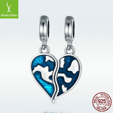 2pcs 925 Sterling Silver Couple Charm Bead Two-part Heart-shaped Earth For Chain