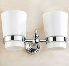 Polished Chrome Bathroom Double Tumbler Cup Holder Toothbrush Holder Bba908