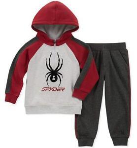Spyder Boys Red & Gray 2pc Fleece Sweatsuit Size 2T 3T 4T 4 5 6 7