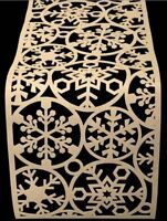 Christmas Felt Table Runner Cream Snowflake Decoration Festive Party Xmas Mat