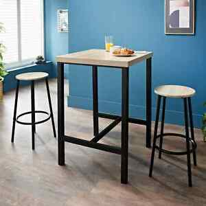Breakfast Bar-Stools and Table Set 3 Piece Kitchen Space Saving Compact Brown