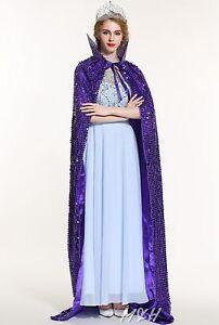 Sequin Bridal Long Cloak Satin Cape w/ Big Lotus Collar Pageant Cosplay Costumes