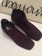 White MT Womens Ankle Boot Size 6M Plum/purple Leather Block Square Diamond S100