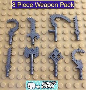 Lego Minecraft Minifigure Weapon 8 Piece Weapon Pack Utensils Axe Cutlass Scythe
