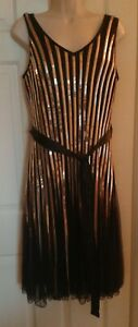 Modern 1920s-style Joe Browns Sequinned Evening Dress Black/Gold New Size 14