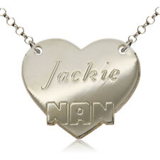 STERLING SILVER NAME CHAIN HEART PERSONAL NAN NECKLACE DOG TAG FREE ENGRAVING