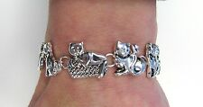Silver Kitty Cat Kitten Charm Bracelet With Magnetic Clasp # 3483  Gift New