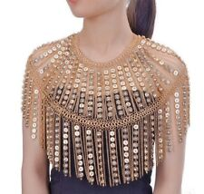 LUXE SPECTACULAR Statement Gold Crystal Shoulder Body Necklace By Rocks Boutique