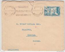 France 1937 cover to uk avec lettre cannes slogan pcm ZZ2089