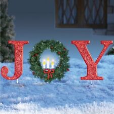 Outdoor Christmas Decoration Lighted Joy Holiday Wreath Ornament Xmas Yard Decor