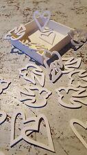 Tischdeko Streudeko Herz Taube Hochzeit  Dekoration Holz Taufe Liebe 24 Teile RC