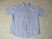 Orvis Button Up Shirt Adult Extra Large Blue Orange Plaid Casual Camp Mens
