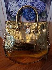 Michael Kors Hamilton Croc Leather Large Purse Bag Shoulder Handle RARE & MINT!