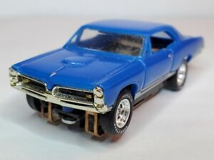 """67 GTO BLUE HO SLOT CAR, AURORA CHASSIS,SLOTTED RIMS & """"LETTERED"""" TIRES"""