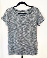 Lou & Grey Womens Top Small Short Sleeve Black Cotton Blend Drawstring Hem 70