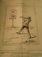 Caricature 1878 - Tir à l'arbalette dans le mille Tir électoral