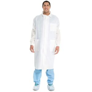 Case of 25 Kimtech A8 LabCoat Knit Cuffs - Small - White - 10040 - US Seller