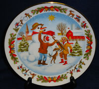CHRISTMAS TIME by Albert Vasils collector's plate  1977 building a snowman