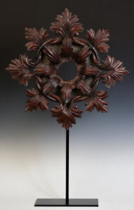 20th Century, Burmese Wooden Flower Decoration with Stand
