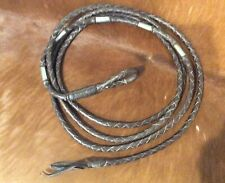 VINTAGE LEATHER BRAIDED HORSE LEAD ROPE WITH SILVER FERRELS HAND MADE TACK