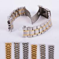 Stainless Steel Solid Links Chic Watch Band Strap Bracelet Curved End 18-24mm