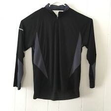 Subaru Black Label Mens Large Pullover Black Gray 1/4 Zip Shirt Athletic Casual