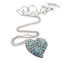 PILGRIM Heart Necklace Pave Opal Mint Swarovski Crystal LOVE Vintage Silver BNWT