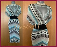 KAREN MILLEN Striped Print Thin Knitted Butterfly Sleeves Midi Dress KM 2 UK10