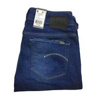 Gstar Raw Womens 3301 Contour High Straight Blue Denim Jeans Size W25 L32 New