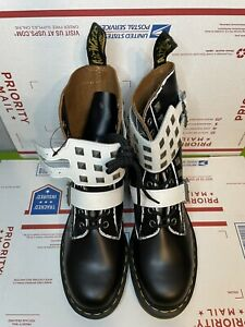 Dr Martens Joska Stud Black White Leather Military Boots - Size 8