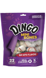 Dingo Mini Bones Rawhide for Small / Toy Dogs Puppies Real Chicken 22 Ct Dog