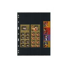 Feuilles Uniplate Lindner noires à 3 bandes pour carnets de timbres-postes.