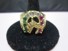 SIZE 9, 14 KT GOLD PLATED MENS LUCKY HORSESHOE  3 COLOR CZ RING