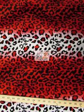 "VELBOA FAUX FAKE FUR LEOPARD ANIMAL SHORT PILE FABRIC - Red/White - 58""/60"" WIDE"