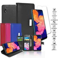 Glass Screen Protector+Double Flap Leather Wallet Case For Samsung Galaxy A10E