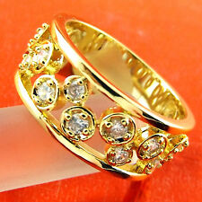 A536 GENUINE REAL 18K YELLOW GF GOLD LADIES DIAMOND SIMULATED ANTIQUE STYLE RING