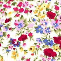 WINE, LILAC, YELLOW & BLUE FLORAL PATTERN ON IVORY - 100% COTTON FABRIC FQ