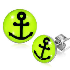 Stainless Steel Anchor Ship Boat Neon Lemon Green Stud Earring      b58