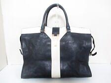 Auth YSL Rive Gauche Cabas Chyc Large 275091 Black Ivory Leather Handbag