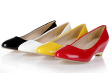 New Womens Synthetic Patent Leather High Wedge Heel Pumps Ladies Sexy Hot Shoes