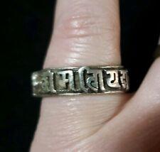 Silver Men Sanskrit Buddhism Tibetan Mantra Om Mani Padme Hum Ring Adjustable